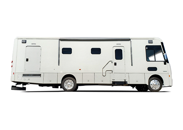 white specialty vehicle motorhome RV