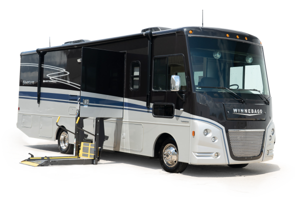 black and silver motorhome with wheelchair lift