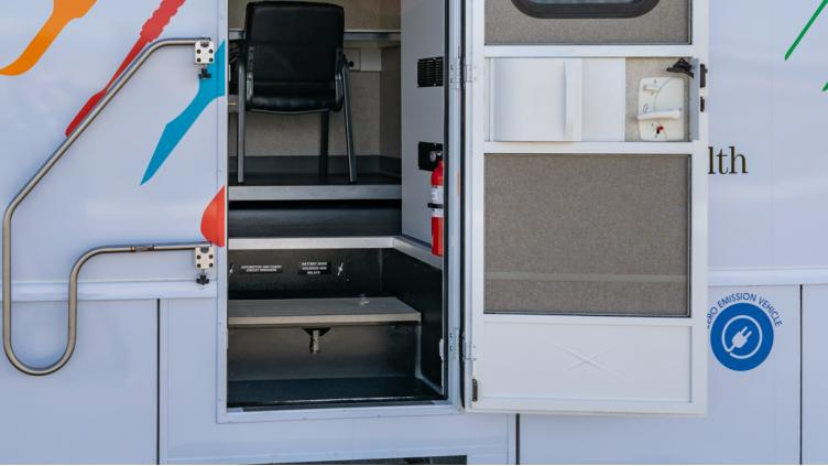 viewing a mobile medical vehicle through an exterior door